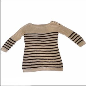 Loft Striped Sweater Tan Black SZ S